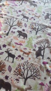 2 Ply Fleece Tie Blanket Hand Made Throw 48x58 Woodland Bears Leaves Fall Autum