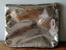 VICTORIA'S SECRET GOLD GLITTER SPARKLE CLUTCH MAKE-UP BAG NEW