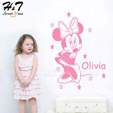 Cartoon Minnie Mouse Customized Name Vinyl Wall Sticker Decal Kids Room Nursery