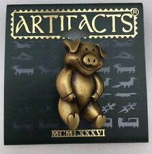 Antique Gold Tone Pig Pewter Brooch by Jonette Jewelry (JJ)