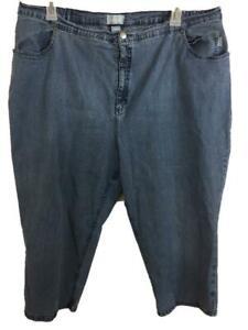 Liz & me jeans capris size 24W blue 4 pockets stretch waist side elastic tab leg
