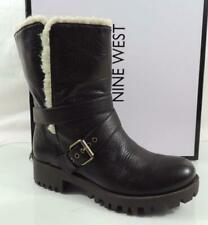 Women's Shoes Nine West Olwyn Motorcycle Ankle Boots Leather Brown Size 6.5