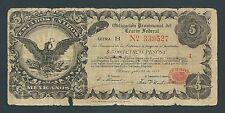 F.C. MEJICO MEXICO , OBLIGACION , 5 PESOS 1914 , R/C (GOOD) , ROTURAS , P.S714 .