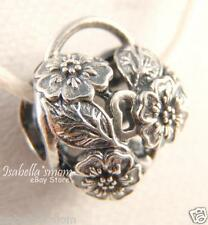 Retired FLORAL HEART PADLOCK Authentic PANDORA Flowers Charm 791397 NEW w BOX!