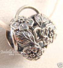 FLORAL HEART PADLOCK Authentic PANDORA Silver FLOWER HEART Charm/Bead 791397 NEW