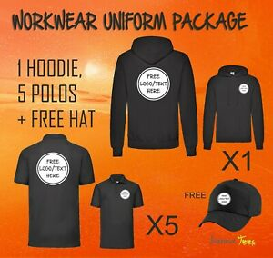 Workwear Package 1 Hoodie + 5 Polos Logo Custom Printed Uniform Personalised