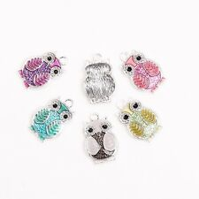 20pcs DIY Colorful Alloy Enamel Owl Charms Pendant Fit Necklace bracelet Making