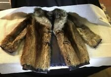 Vintage Les Freres Sylvere Montreal Leather Trimmed Raccoon Fur Women's Jacket