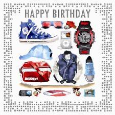 Skateboard Cap Watch Glasses Belt Music Player Design Male  Happy Birthday Card