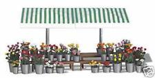 BNIB OO / HO BUSCH 1072 FLOWER MARKET STALL WITH 200 FLOWERS