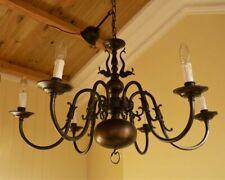 Antique Vintage Brass Flemish Chandelier 6 lamp ceiling light French Chic
