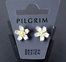 PILGRIM Earrings HAPPY FACES Flower Stud Vintage Silver White Cream Enamel BNWT