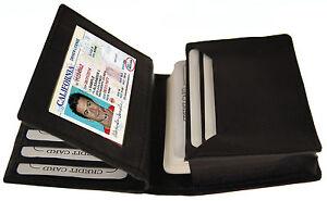 Black Men's Leather Bifold 18 Credit Business Card ID Center Flap Wallet Holder.