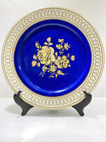 Gloria Fine Porcelain Western Germany Gold Blue Plate Echt Gold 10.5""