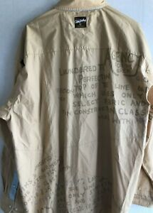 Akademiks Mens Shirt 3XL Yellow/Gold Button Long Sleeve 100% Cotton