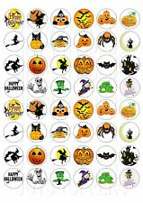 48 MINI HALLOWEEN CAKE CUPCAKE TOPPERS ICED ICING FAIRY CAKE BUN TOPPERS