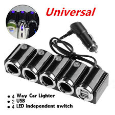 DC12V-24V 2 USB Cigarette 4Way Car Lighter Socket Splitter Charger Power Adapter