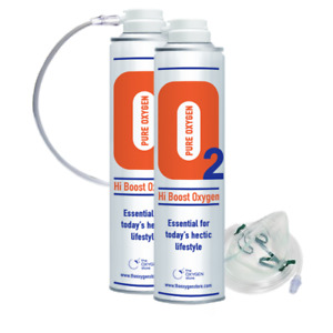 O2 Oxygen in a can 20L (2 x 10L) With Tubing And Mask Canned Portable