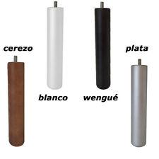 4 patas de somier ó base tapizada , madera , redondas con rosca (en 4 colores)