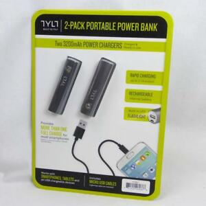 TYLT 2 Pack Portable Power Bank 3200mAh Chargers USB Cables Built In Flashlight