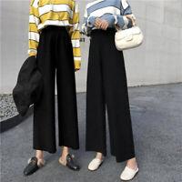 Womens Pants Loose Solid Casual Wide Leg Pants Summer Korean High Waist Trous JG