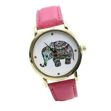 Adult / Teen - TRIBAL PATTERNED BABY ELEPHANT Quartz Watch with BABY PINK Strap