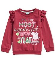 Peppa  Pig Girls Ruffle-Trim Red Holiday Christmas Sweatshirt Size 6X