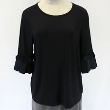 NEW Lane Bryant Woman Plus Blouse Black Round Neckline Ruched Top 18-20 /2X