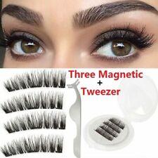 4Xlange Nerz Lash dreifach magnetische 3D natürliche falsche Wimpern handgemacht