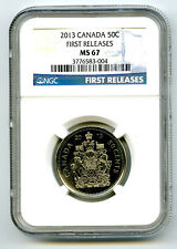2013 CANADA 50 CENT COAT OF ARMS HALF DOLLAR NGC MS67 FIRST RELEASES... RARE !!