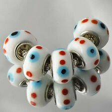 5pcs murano glass beads red black lampwork silver charms fit European Bracelet