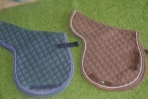 SADDLE PADS QUILTED USED GOOD CONDITION  1 BROWN 1 GREEN COB SIZE