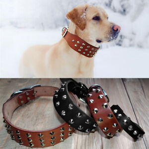 Adjustable Black Leather Dog Collar with Studs for Small Large Dogs Pitbull XS-L