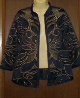 Travelers Collection by Chico's Open Style Blouse Sz 0 Navy Blue Gold Geometric