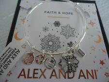 Alex and Ani 2020 Crystal Snowflake Charm Bangle Bracelet Silver