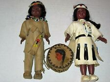 Two Vintage handmade Mementoes Native American Indian Dolls With Drum