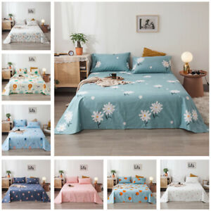 Floral Cotton Blend Bed Sheet Flat Sheet Protector Cover Home Bedroom Bedding
