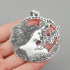 2 x Large Tibetan Silver Goddess & Bird of Peace Pendant Jewelry Necklace
