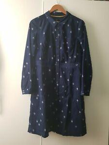 White Stuff Petra Cord Blue Leaf Print Dress 12 Autumn Casual Button Up