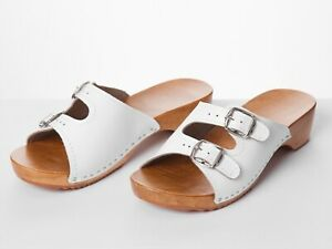 Women's Sandals Leather Sliders Wood Ladies Slip On Clogs Size 3-8 Slipper White