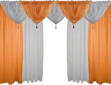 orange et blanc 9 pièces Ensemble voile 229CM à passants dissimulés RIDEAUX &