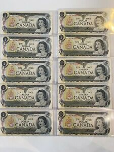 Canada 1 Dollar Bill Uncirculated Mint $1 1973 Series Canadian 10 bill lot