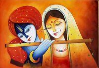 "Indian God&Goddess Radha Krishna Handmade Original Oil Painting on Canvas 37x26"""