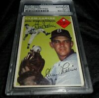1954 TOPPS CLEM LABINE #121 BROOKLYN DODGERS AUTO SIGNED AUTHENTIC PSA/DNA
