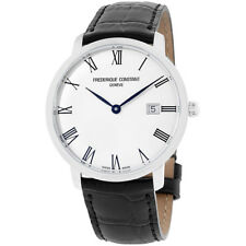 Frederique Constant Slimline Silver Dial Leather Strap Men's Watch FC306MR4S6