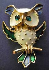 Vintage TRADITION Enamel Owl Pin~Glowing Green Cab Eyes~Bird Brooch~Great HOOTER