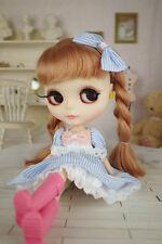 Blythe Pullip Doll Outfit Blue Stripes Pink Knot Dress