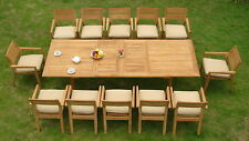"13 PC DINING TEAK SET GARDEN OUTDOOR PATIO FURNITURE CELLORE STACKING 117"" RECT"
