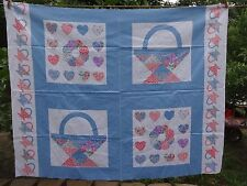 Quilted Baskets Hearts Wreath -   100% Cotton Fabric Material NEW Blues/Pinks
