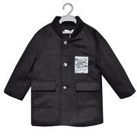 NEW Boys Kids Black Paris Duffle Coat Jacket School Age 3 4 5 6 7 8 9 10 11 12